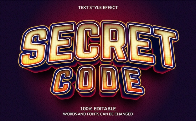 Edytowalny efekt tekstu w stylu tekstu secret code