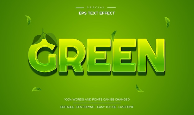 Edytowalny efekt tekstu w stylu zielonym