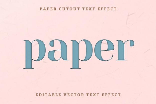 Edytowalny efekt tekstu wektorowego wycinanka papieru