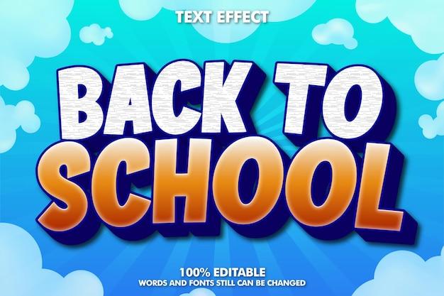 Edytowalny efekt tekstu z powrotem do szkoły powrót do tła szkolnego