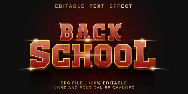 Edytowalny efekt tekstu z powrotem do szkoły