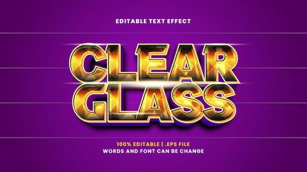 Edytowalny efekt tekstu z przezroczystego szkła w nowoczesnym stylu 3d