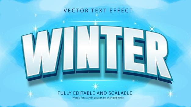 Edytowalny efekt tekstu zimowego
