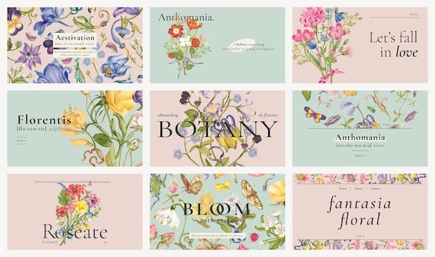 Edytowalny estetyczny kwiatowy szablon wektor zestaw banerów blogowych