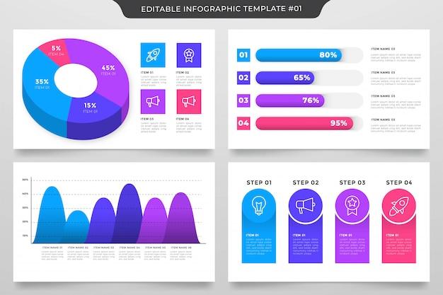Edytowalny infographic szablon stylu premium