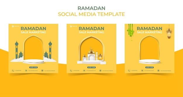 Edytowalny kwadratowy szablon postu w mediach społecznościowych ramadan koncepcja banera sprzedaży do promocji z podium