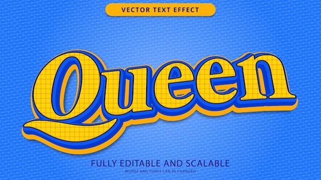 Edytowalny plik eps z efektem tekstowym królowej