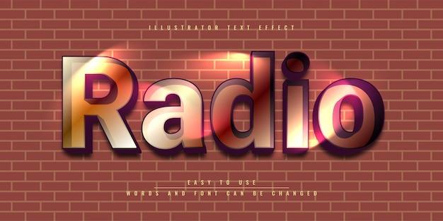 Edytowalny projekt szablonu efektów tekstowych w programie radio illustrator