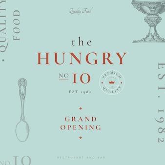 Edytowalny projekt szablonu restauracji, zremiksowany z dzieł z domeny publicznej