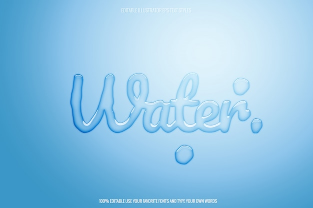 Edytowalny przezroczysty efekt tekstowy wody