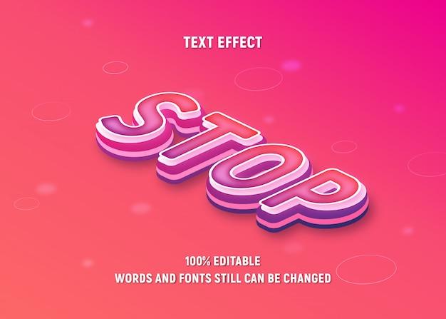 Edytowalny różowy tekst o zatrzymaj w stylu izometrycznym z efektem gradientu.