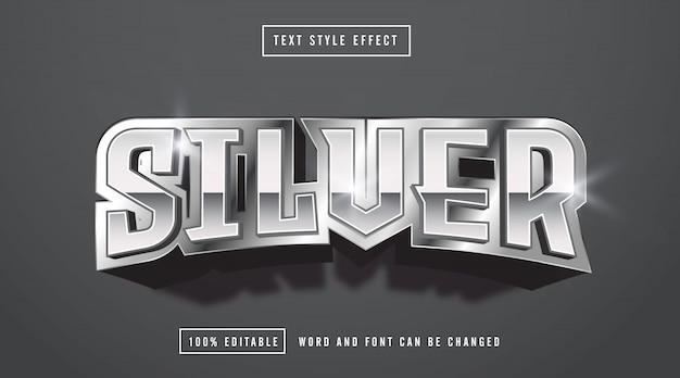 Edytowalny srebrny efekt stylu tekstu
