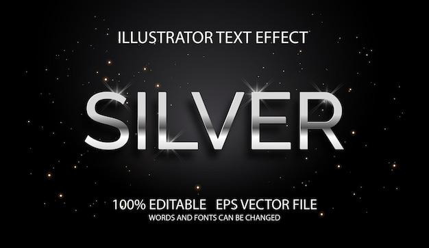 Edytowalny srebrny styl efektu tekstu