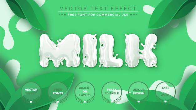Edytowalny styl czcionki z efektem edycji mleka