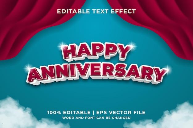 Edytowalny styl efektu tekstowego happy anniversary premium wektor