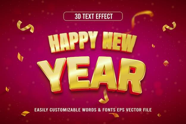 Edytowalny styl efektu tekstowego szczęśliwego nowego roku