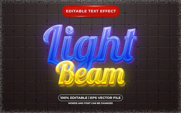 Edytowalny styl szablonu wiązki światła z efektem tekstowym