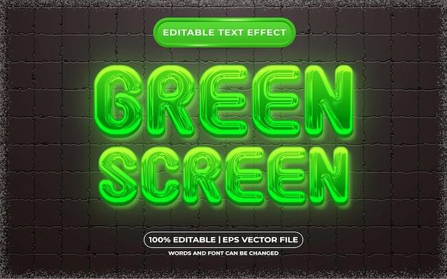 Edytowalny styl szablonu zielonego ekranu z efektem tekstowym