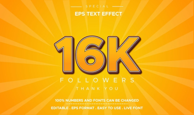 Edytowalny styl tekstu 16k efekt liczbowy
