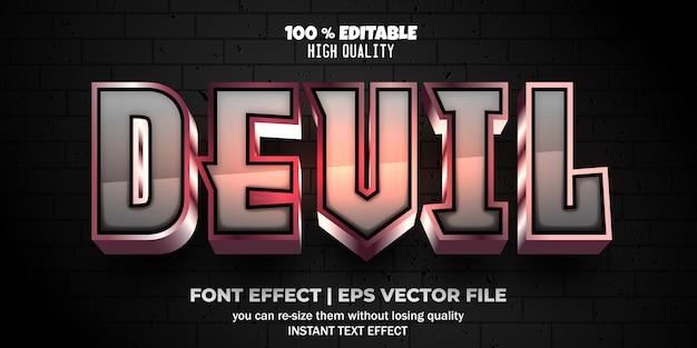 Edytowalny styl tekstu diabła z efektem czcionki