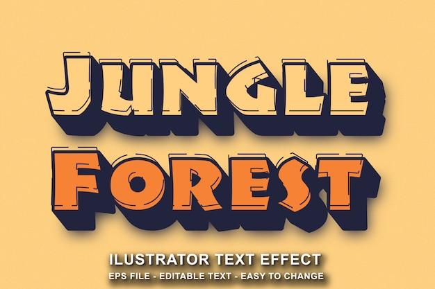 Edytowalny styl tekstu efekt dżungli las kreskówka