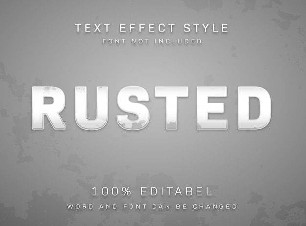 Edytowalny styl tekstu typu zardzewiały obrany srebrny metaliczny tekstur