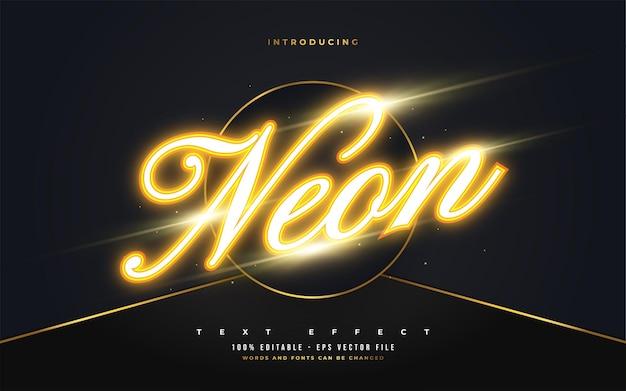 Edytowalny styl tekstu z efektem świecącego pomarańczowego neonu. edytowalny efekt stylu tekstu
