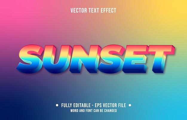 Edytowalny styl zachodu słońca gradientu efektu tekstu