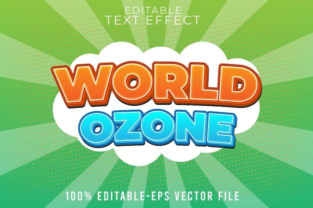 Edytowalny światowy efekt ozonu w stylu kreskówki