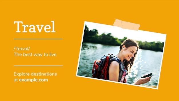 Edytowalny szablon banera podróży dla blogerów