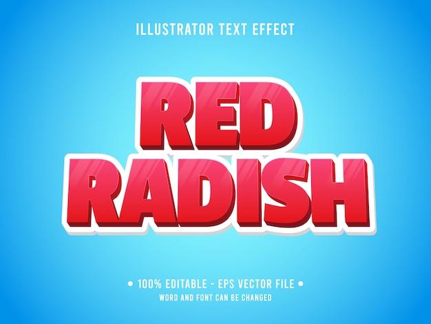 Edytowalny szablon efektu tekstowego rzodkiewka świeży czerwony styl