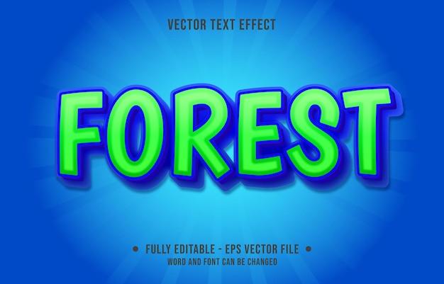 Edytowalny szablon efektu tekstowego zielony las galaretki kolor gradientu nowoczesny styl