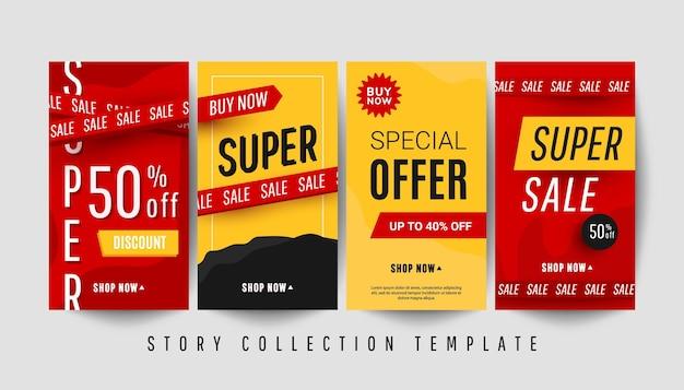 Edytowalny szablon historii banerów pionowych z tekstem super rabatu i elementami wystroju sprzedaży