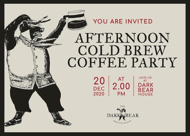 Edytowalny szablon karty biznesowej z zaproszeniem do projektowania tożsamości korporacyjnej dla kawiarni
