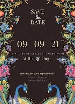 Edytowalny szablon karty ślubnej z akwarelowymi pawiami i kwiatami na czarnym tle