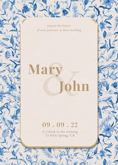 Edytowalny szablon karty zaproszenia z ilustracją akwarela pawie i kwiaty