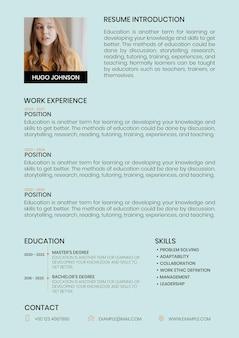 Edytowalny szablon kreatywnego cv do poszukiwania pracy