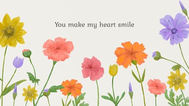 Edytowalny szablon ładny cytat kwiatowy tło