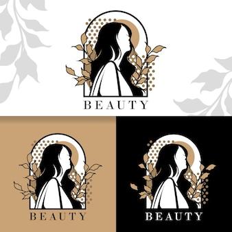 Edytowalny szablon logo wektor piękna kobieta