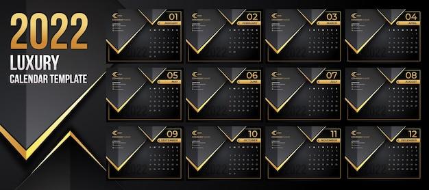 Edytowalny szablon luksusowego kalendarza 2022 z czarnym złotym stylem tła