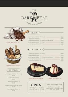 Edytowalny szablon menu kawiarni projektowanie tożsamości korporacyjnej