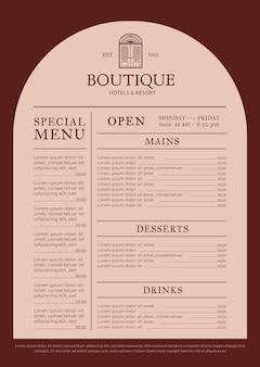 Edytowalny szablon menu restauracji projektowanie tożsamości korporacyjnej