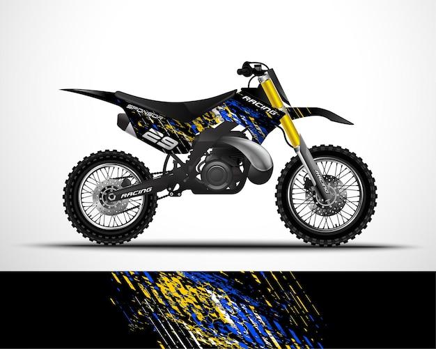 Edytowalny szablon motocross, dirtbike, naklejka na motocykl i projekt naklejki winylowej.