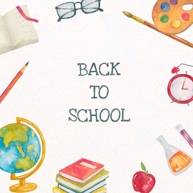 Edytowalny szablon papeterii szkolnej w akwareli z powrotem do szkolnego postu w mediach społecznościowych