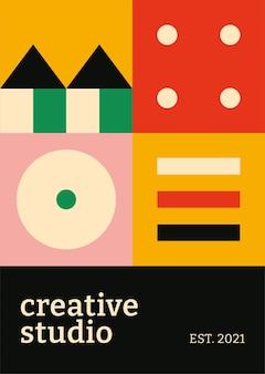 Edytowalny szablon plakatu bauhaus inspirowany płaskim kreatywnym tekstem studio