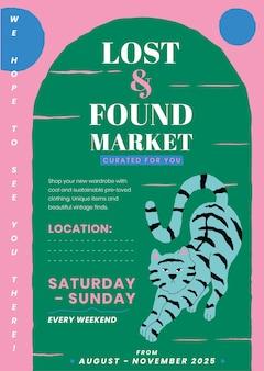 Edytowalny szablon plakatu dla zgubionych i znalezionych z uroczą ilustracją zwierząt