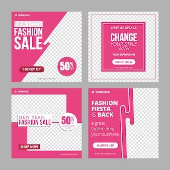Edytowalny szablon reklam banerowych na instagram fashion