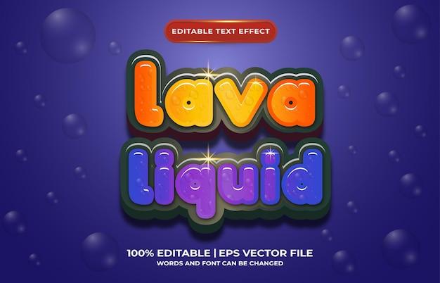 Edytowalny szablon stylu efektu tekstowego w płynie lawowym