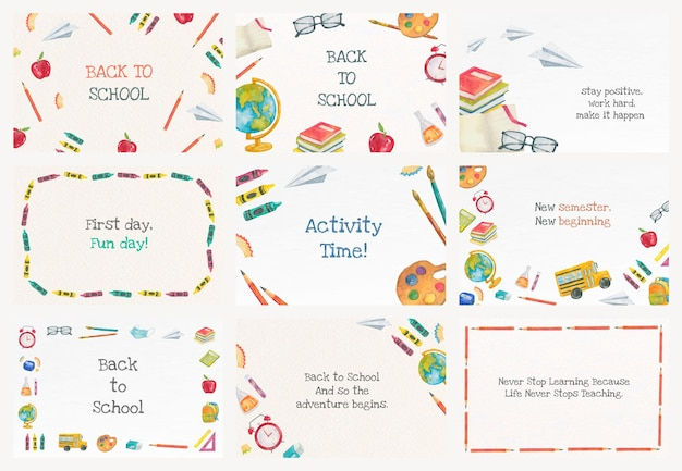 Edytowalny szablon transparentu edukacyjnego wektor zestaw do ilustracji z powrotem do szkoły