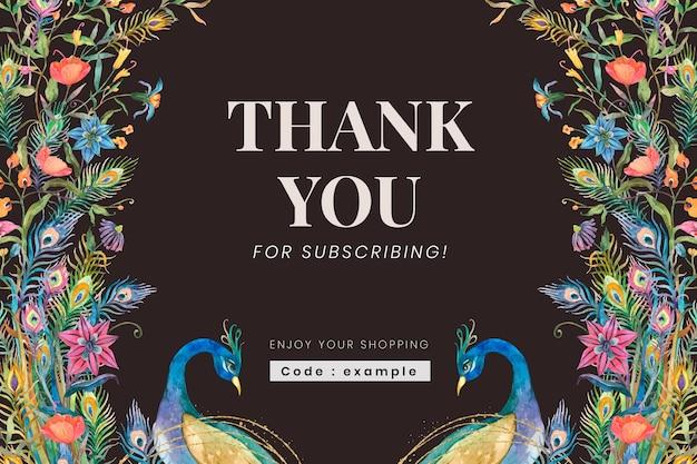 Edytowalny szablon transparentu społecznościowego z akwarelowymi pawiami i kwiatami na ciemnym tle z podziękowaniem za subskrypcję tekstu